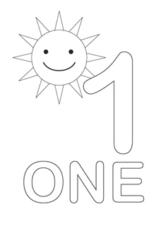 4 Images of Number 1 Coloring Pages Printable