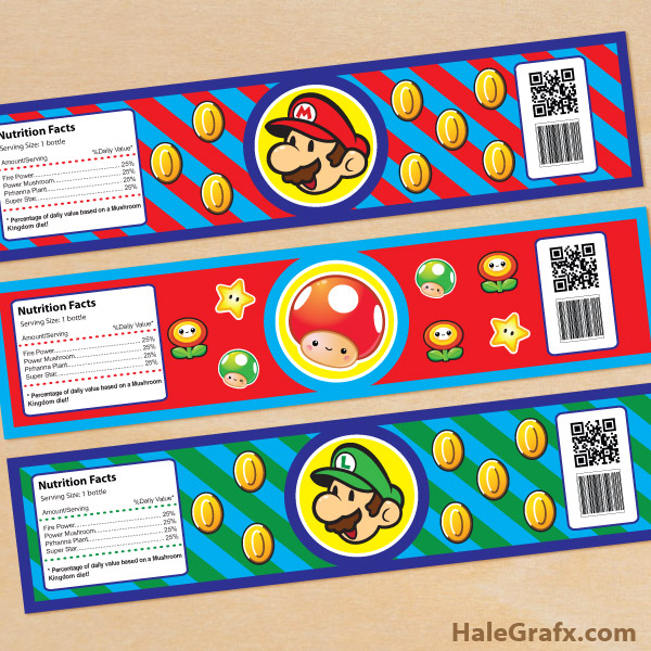 8 Images of Mario Printables For Water Bottles