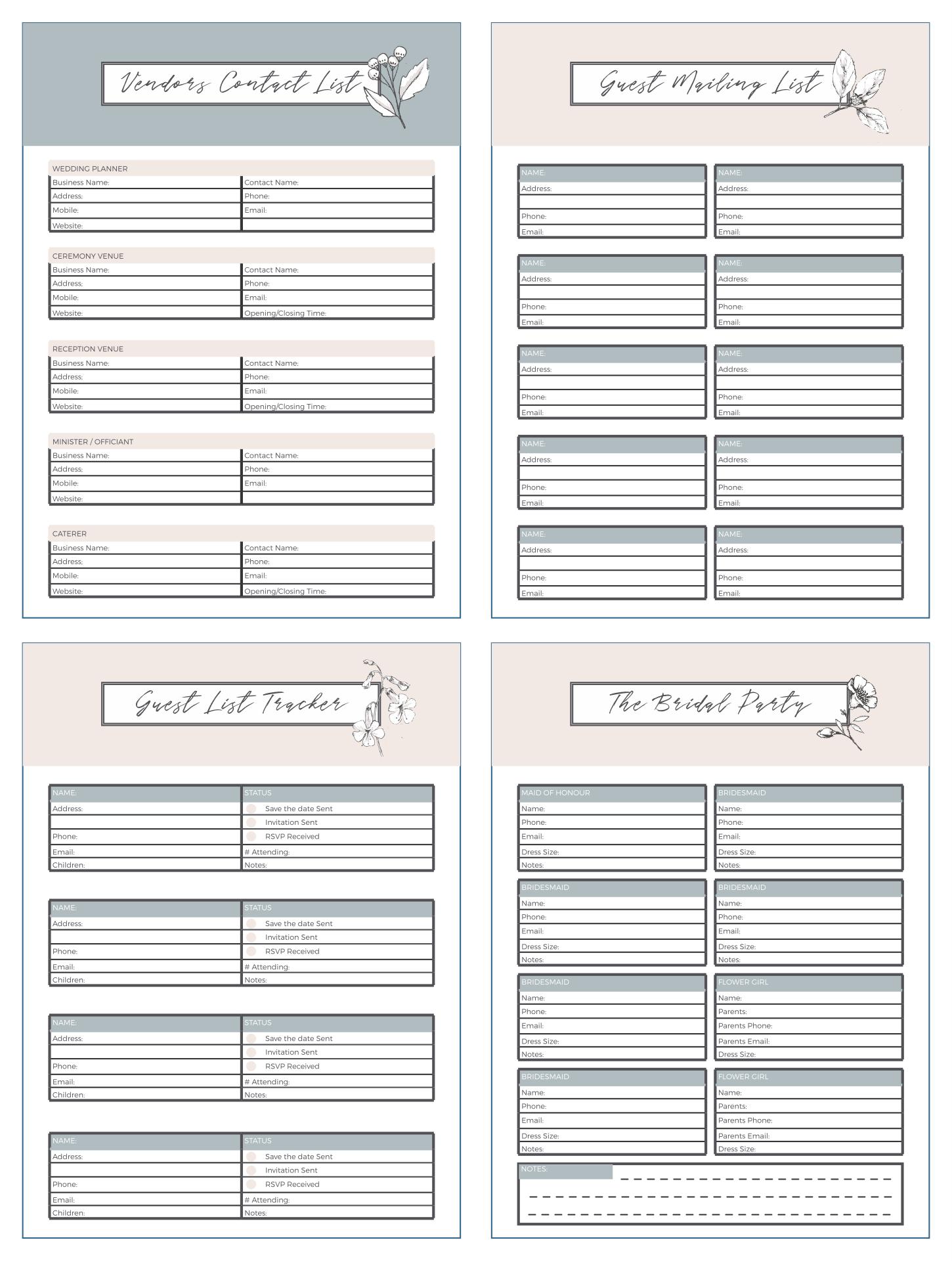 Free Printable Wedding Planner Worksheets