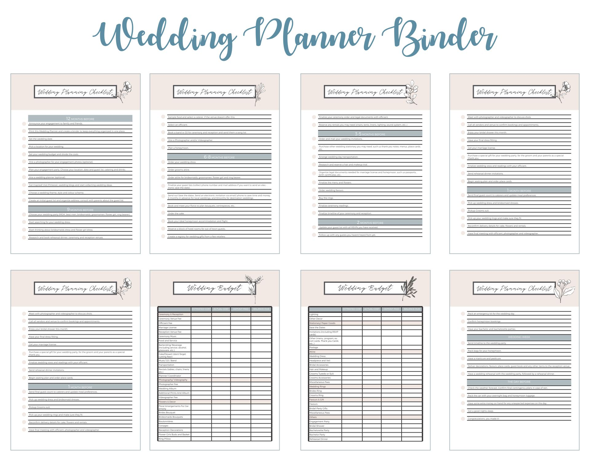 Printable Wedding Planning Binder