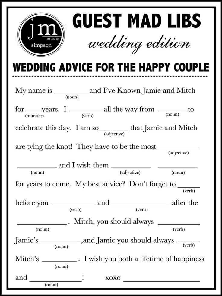9 Images of Blank Printable Wedding Mad Libs
