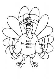 6 Images of I AM Thankful Turkey Printable