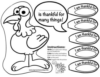 6 best images of i am thankful turkey printable i am for Thanksgiving craft templates printable