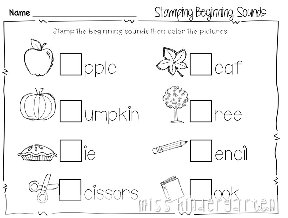 math worksheet : 8 best images of free fall printables kindergarten  kindergarten  : Fun Worksheets For Kindergarten
