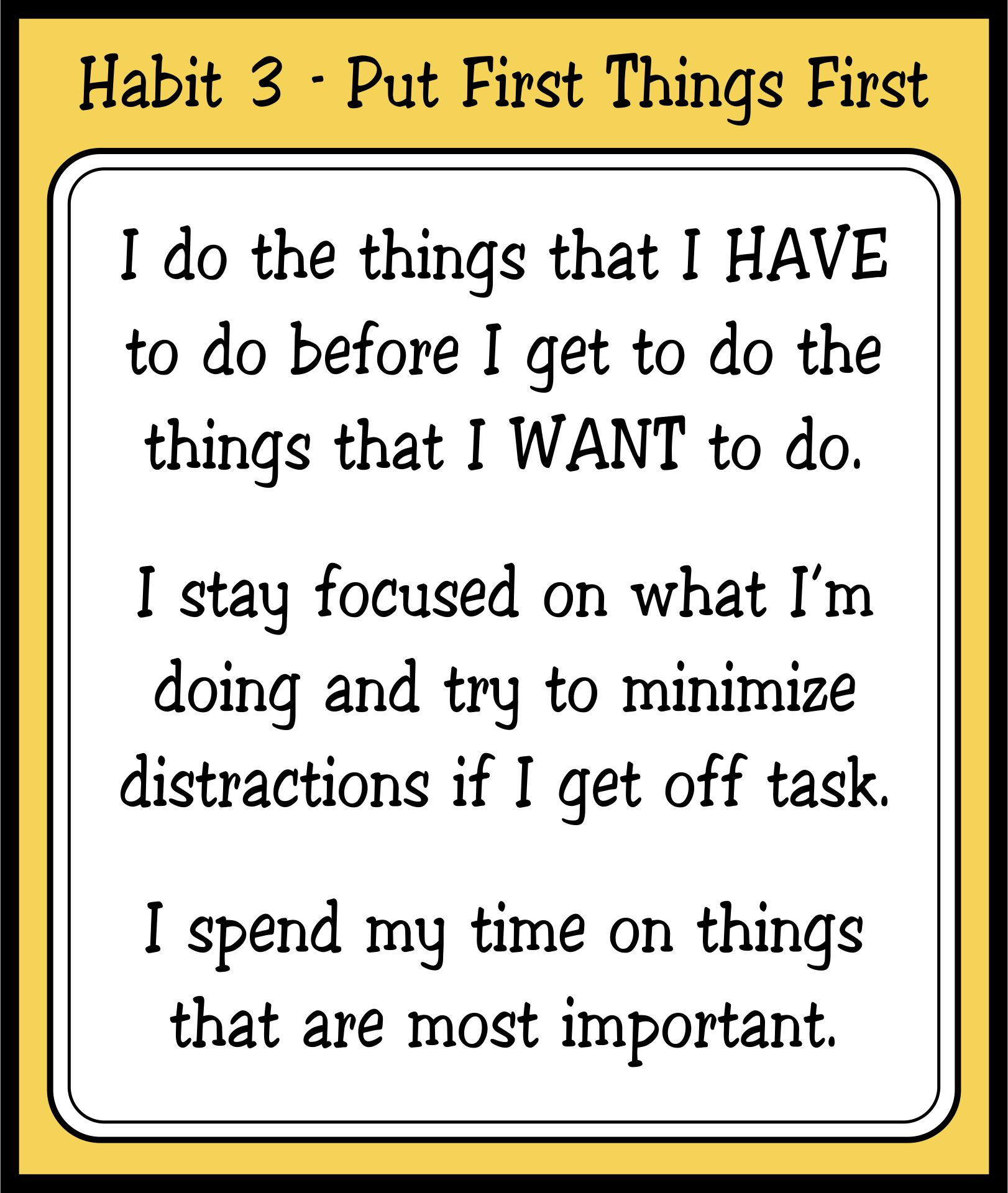 Leader in Me Habit 3 Put First Things First
