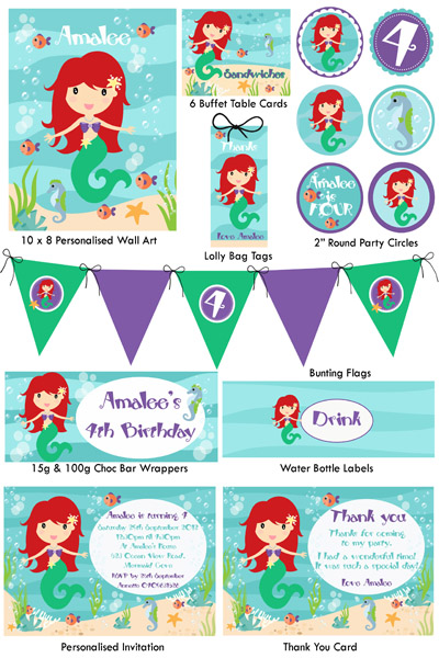 5 Images of Mermaid Party Printables Free