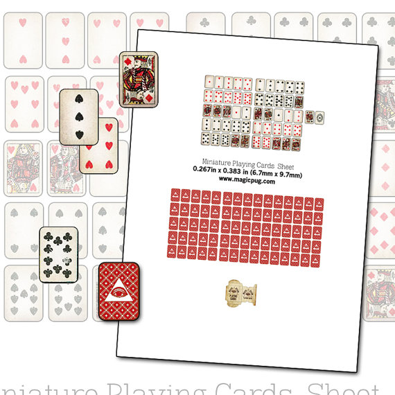 4 Images of Tiny Playing Cards Printable