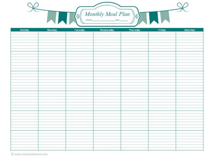 Weekly Calendar Meal Planners : Best images of monthly meal plan printable free