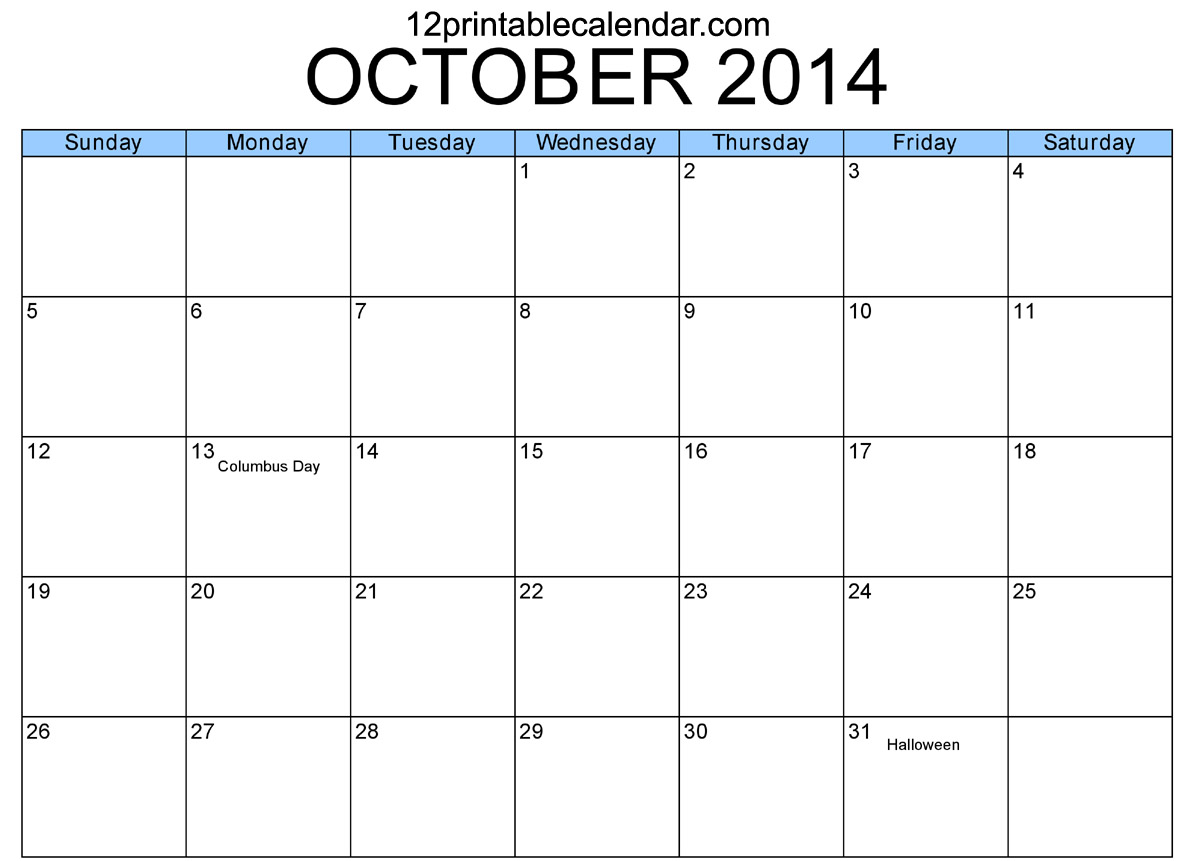 8 Images of Printable Monthly Calendar October 2014