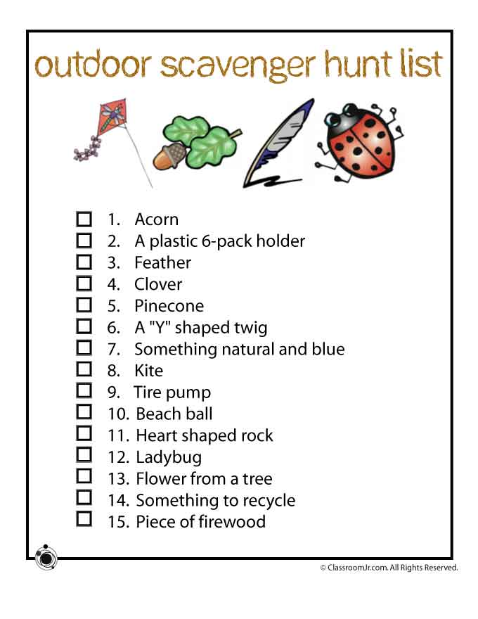 8 Images of Printable Outdoor Scavenger Hunt List