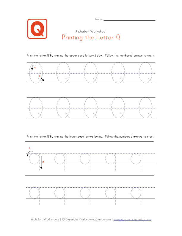 Letter q tracing