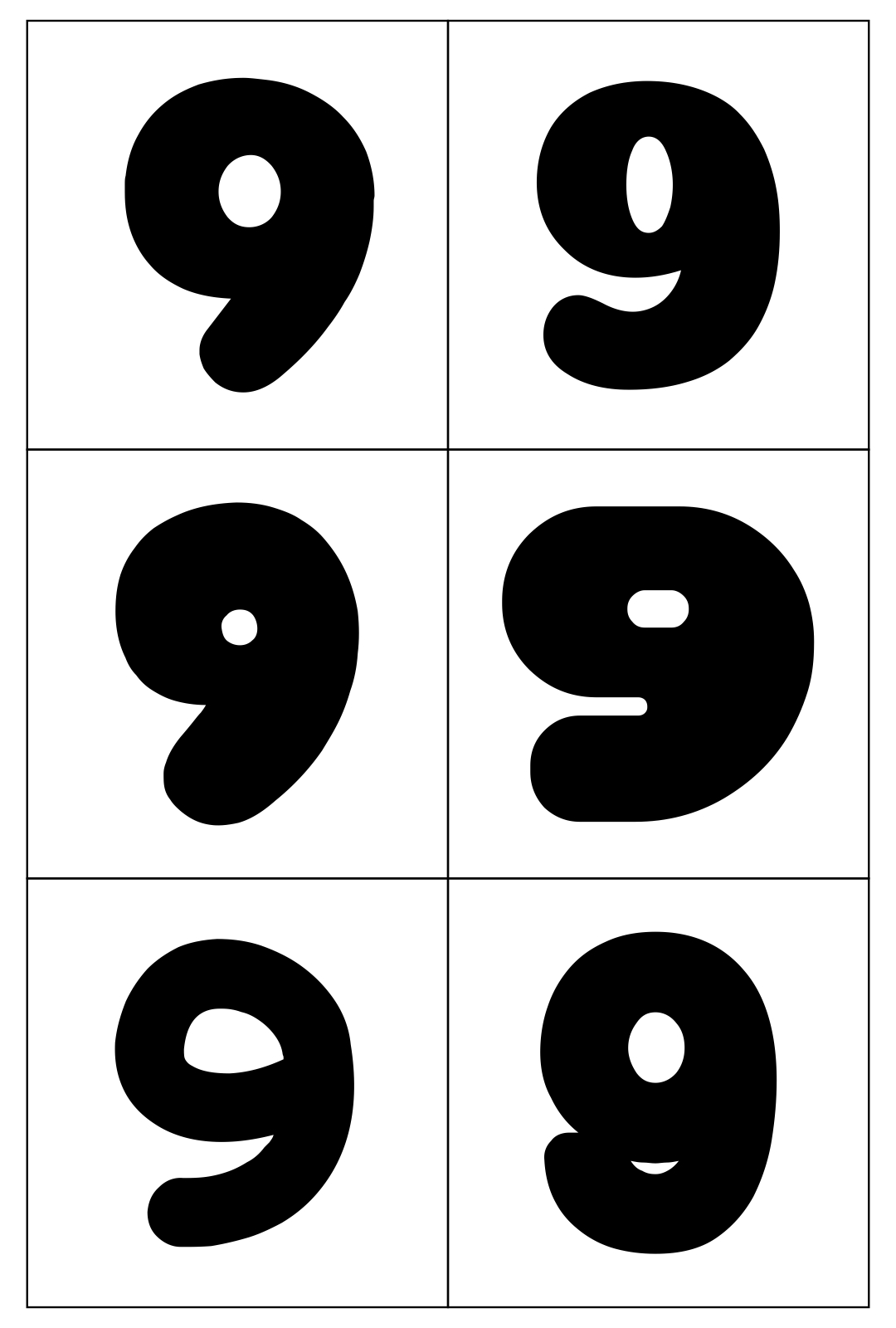 Printable Bubble Numbers 9