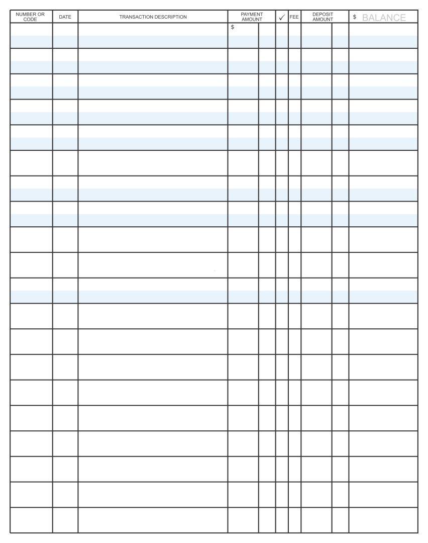 Printable Check Register PDF