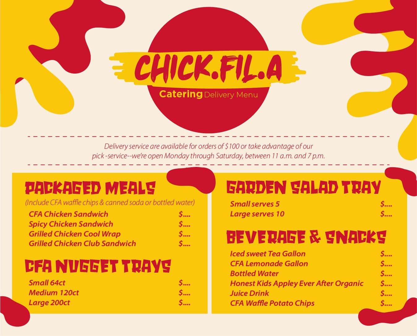 Printable Chick-fil a Catering Menu