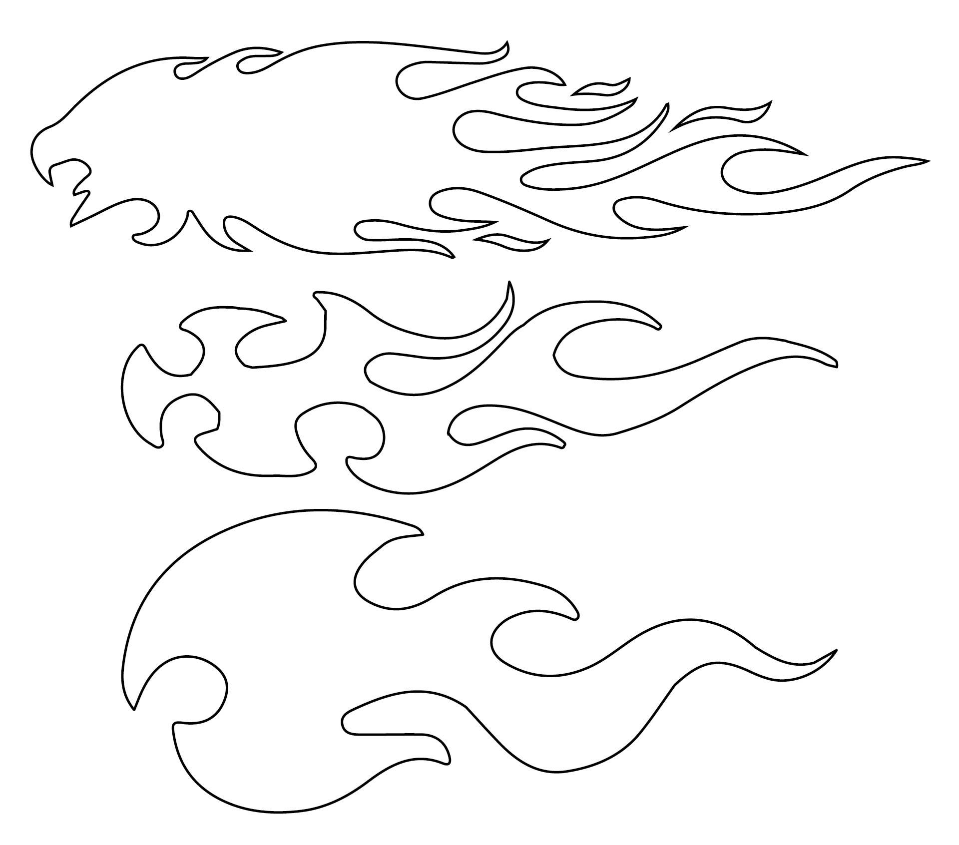 Printable Flame Airbrush Stencils Templates