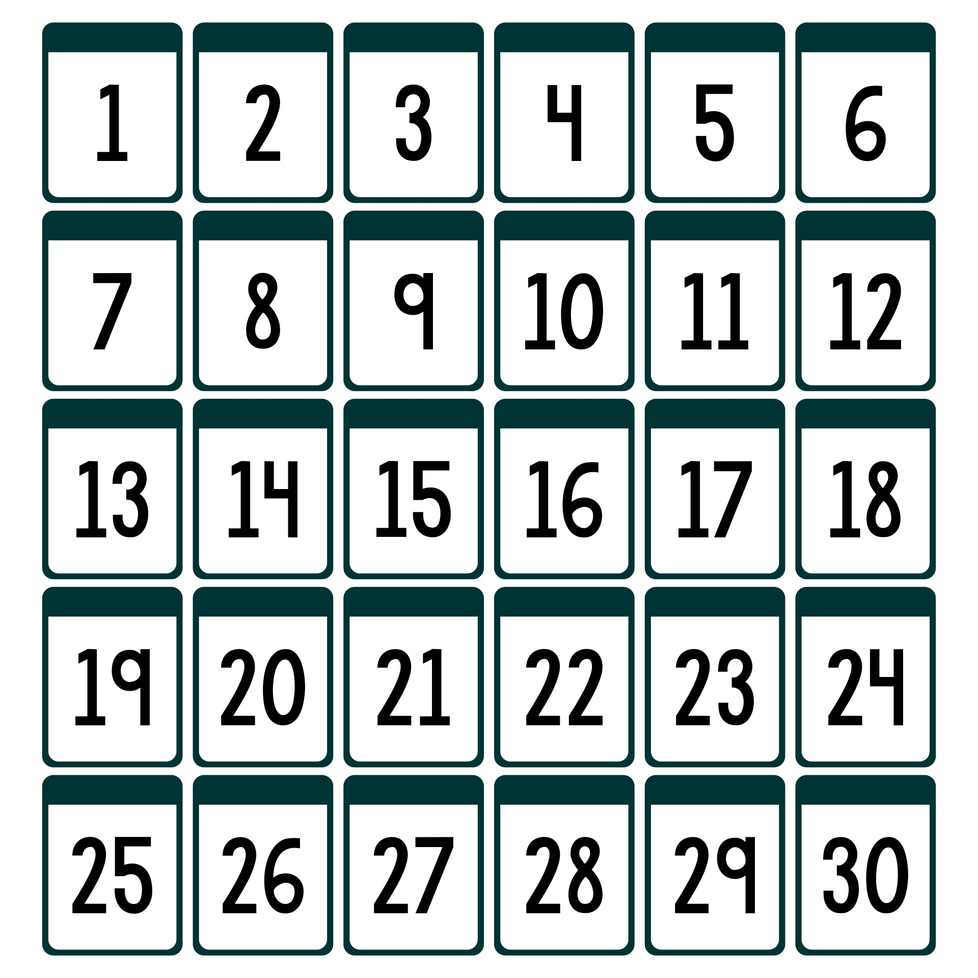 Epic image with printable numbers 1-30