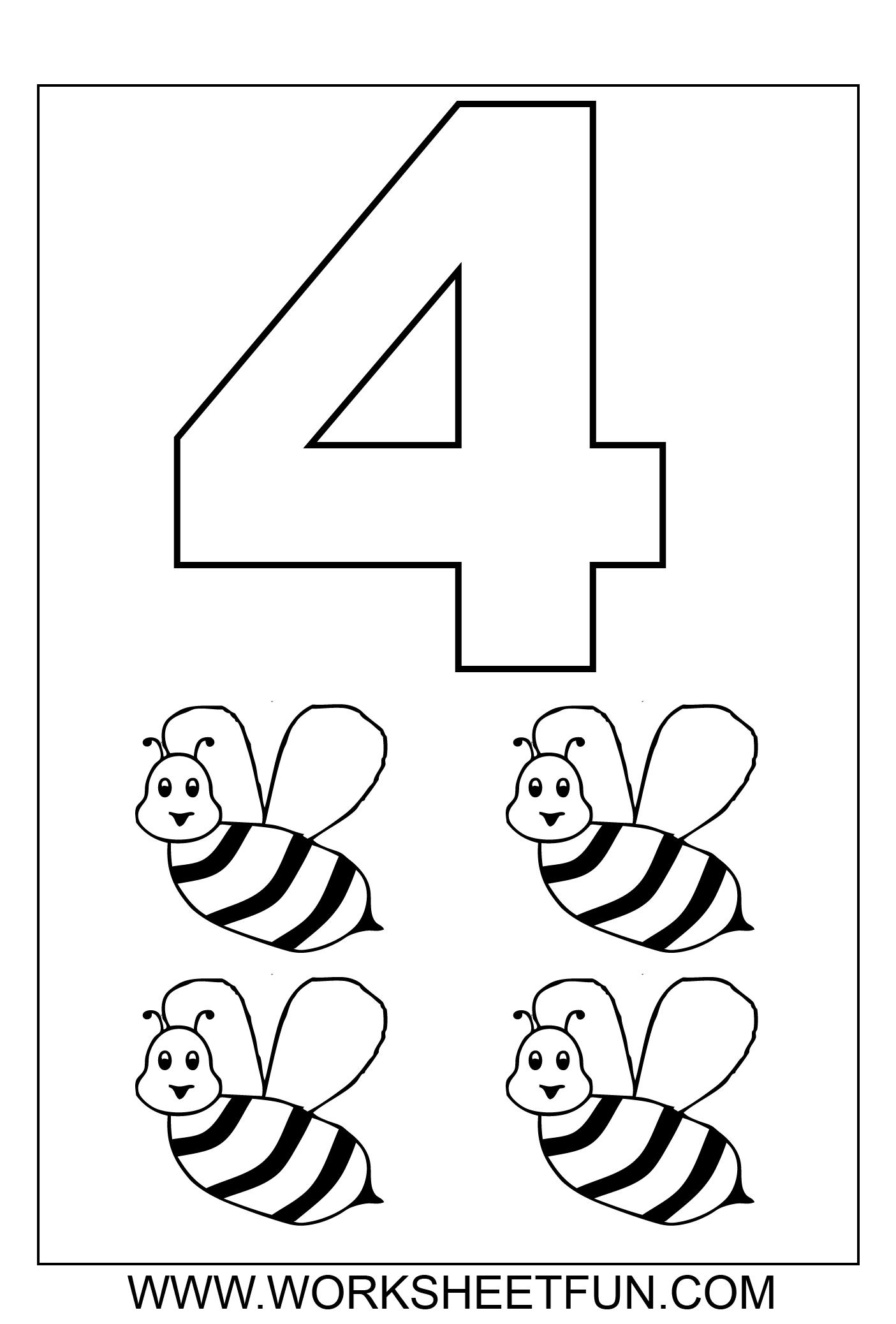 Number 4 Preschool Worksheet - Thimothy Worksheet