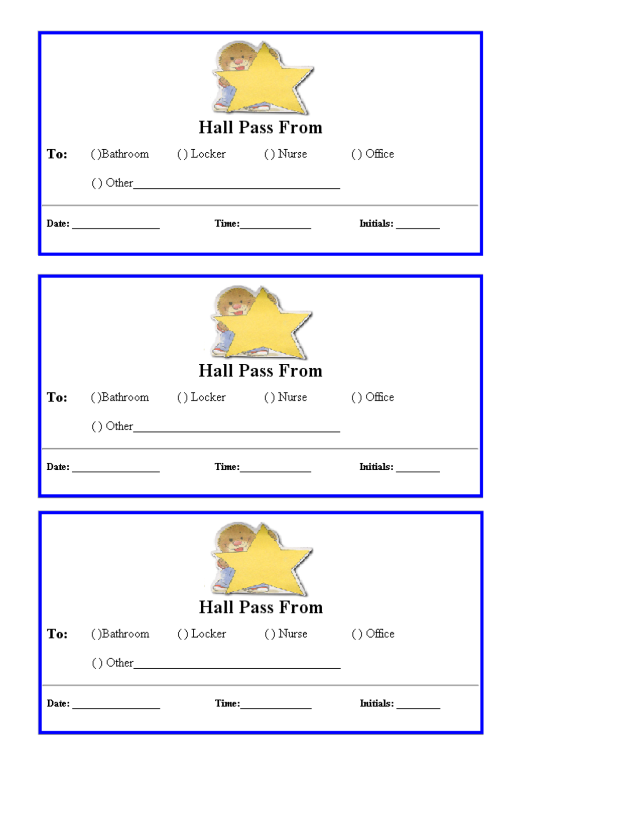 7 Images of Printable Hall Passes For Teachers