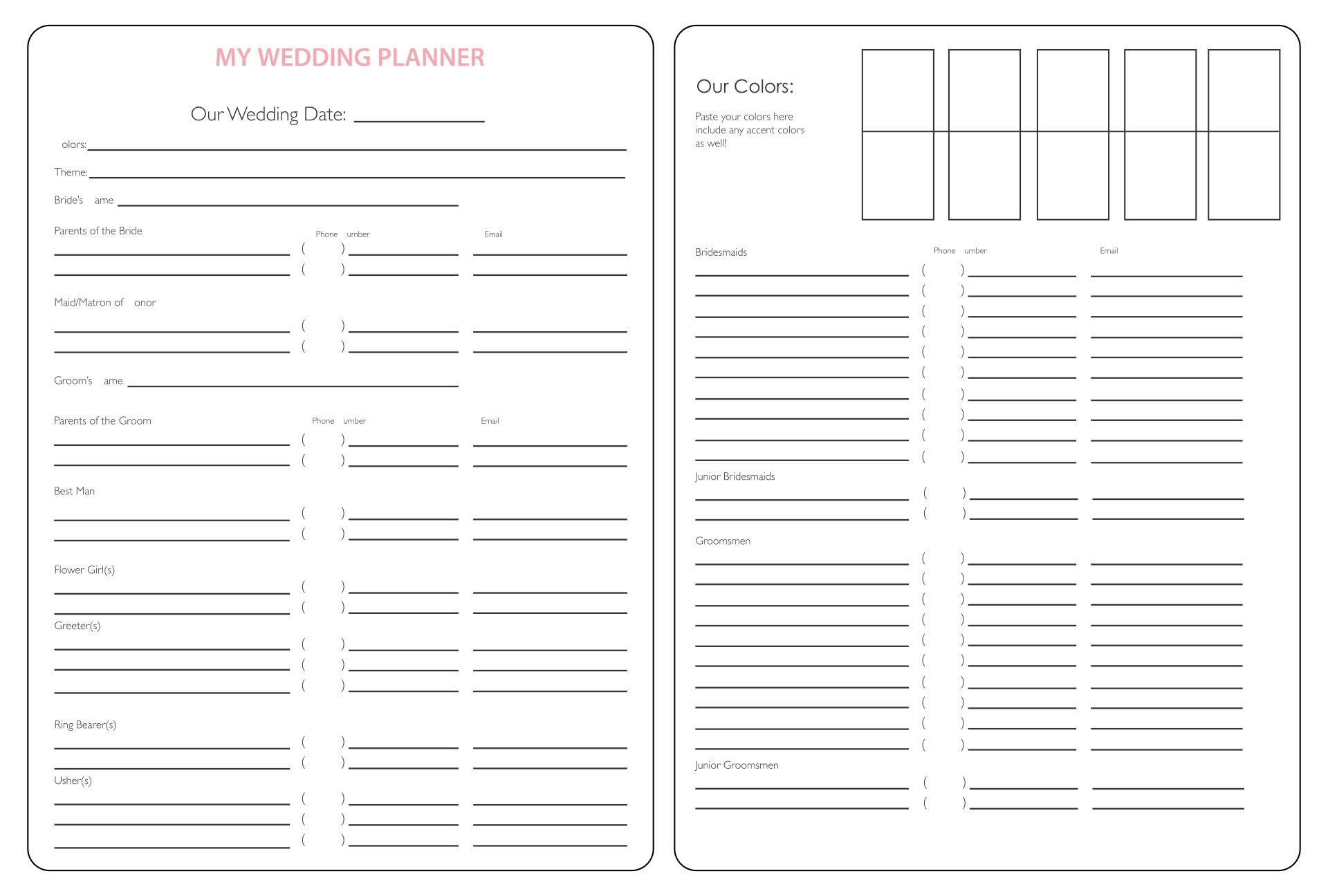 Worksheet Free Printable Wedding Planning Worksheets 9 best images of wedding planning printables printable planner