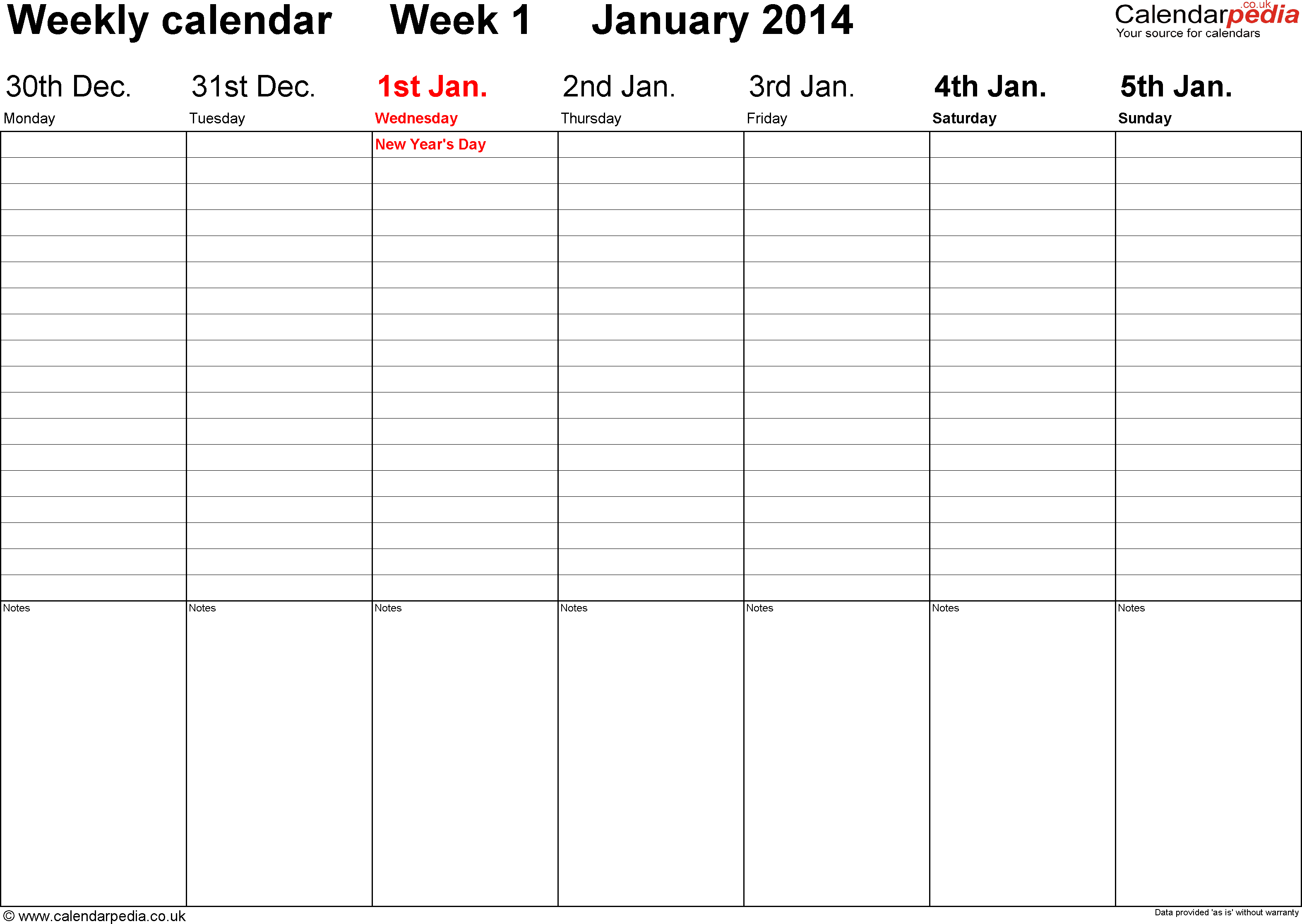 9 Images of Weekly Calendar 2014 Printable