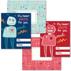 4 Images of Printable Valentine Tags Robots