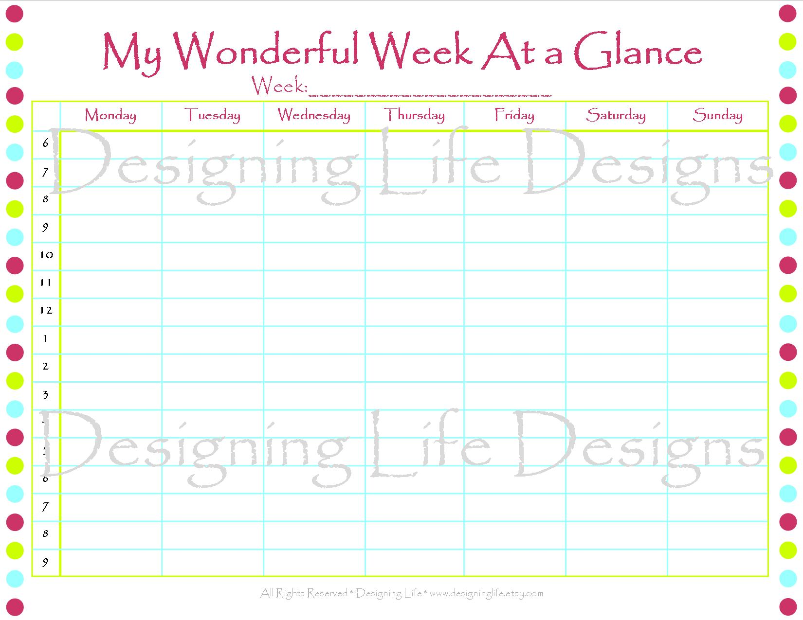 6 best images of printable week at a glance template week at a glance free printable week at. Black Bedroom Furniture Sets. Home Design Ideas