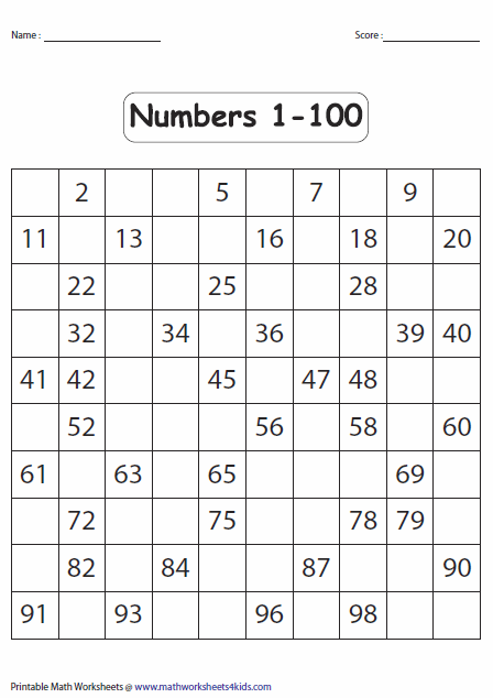 Counting worksheets 1 100
