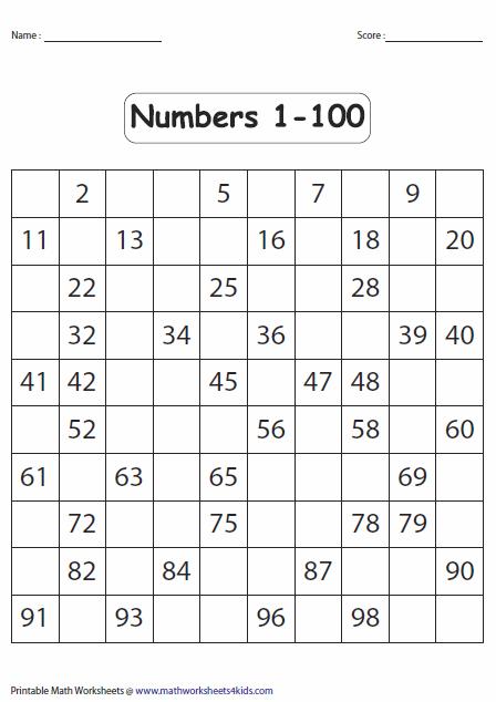 7 Best Images of Free Printable Missing Numbers 1 100 ...