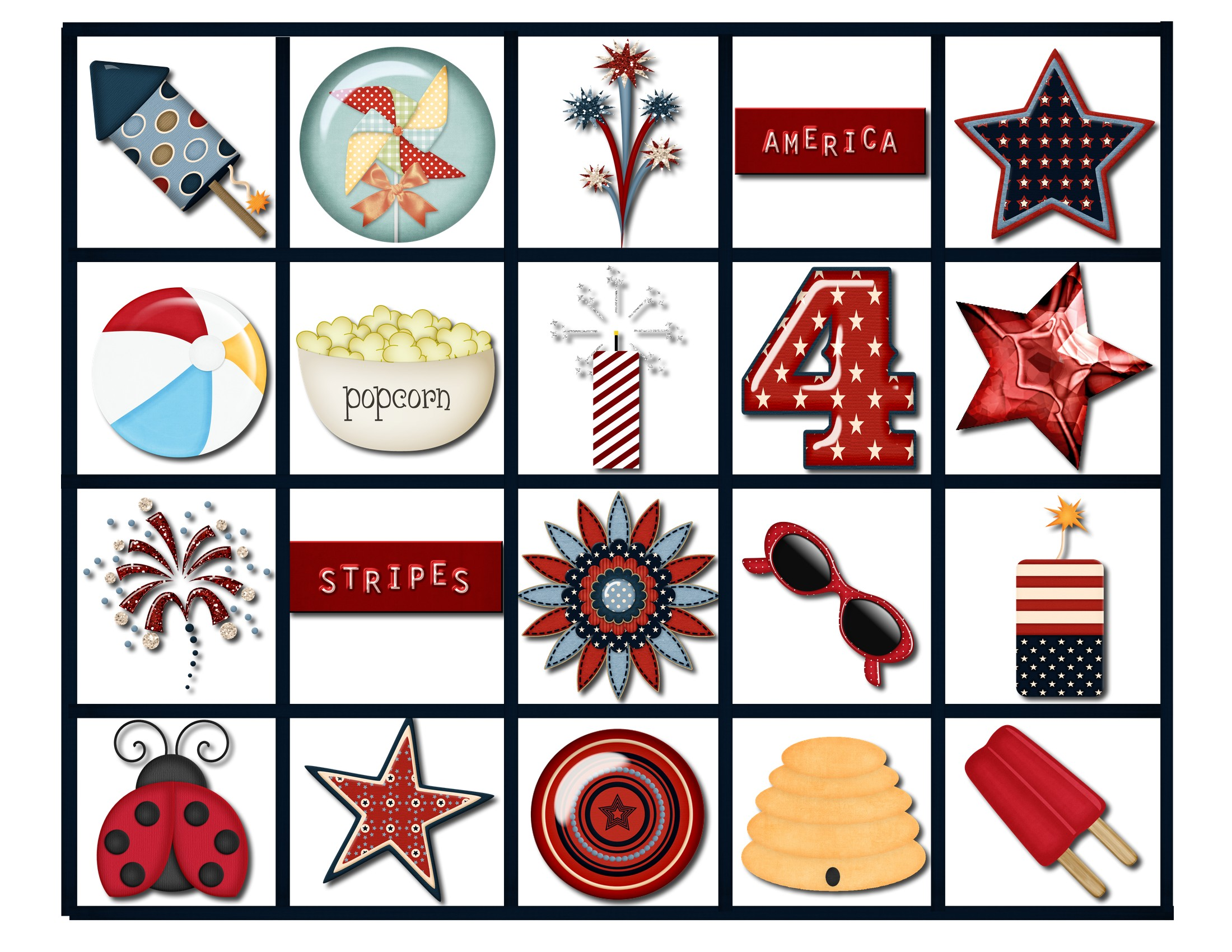 5 Images of 4th Of July Bingo Printable