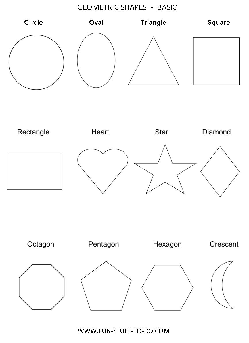5 Images of Basic Geometric Shapes Printable