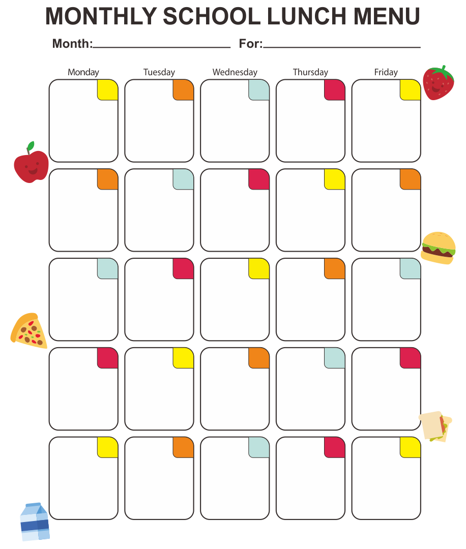 Blank School Lunch Menu Templates