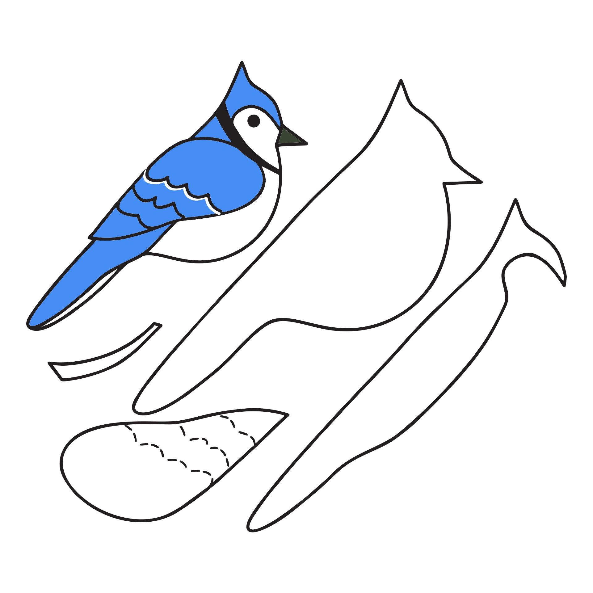 Blue Jay Felt Ornament Pattern
