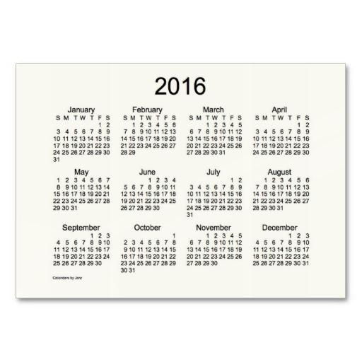 7 Images of Pocket Calendar 2016 Printable
