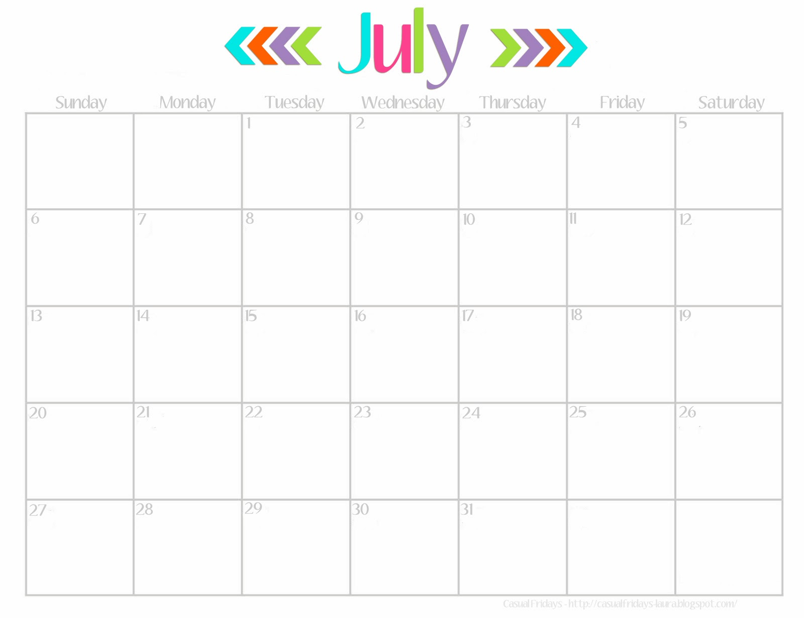 6 Images of Cute July Calendar Printable