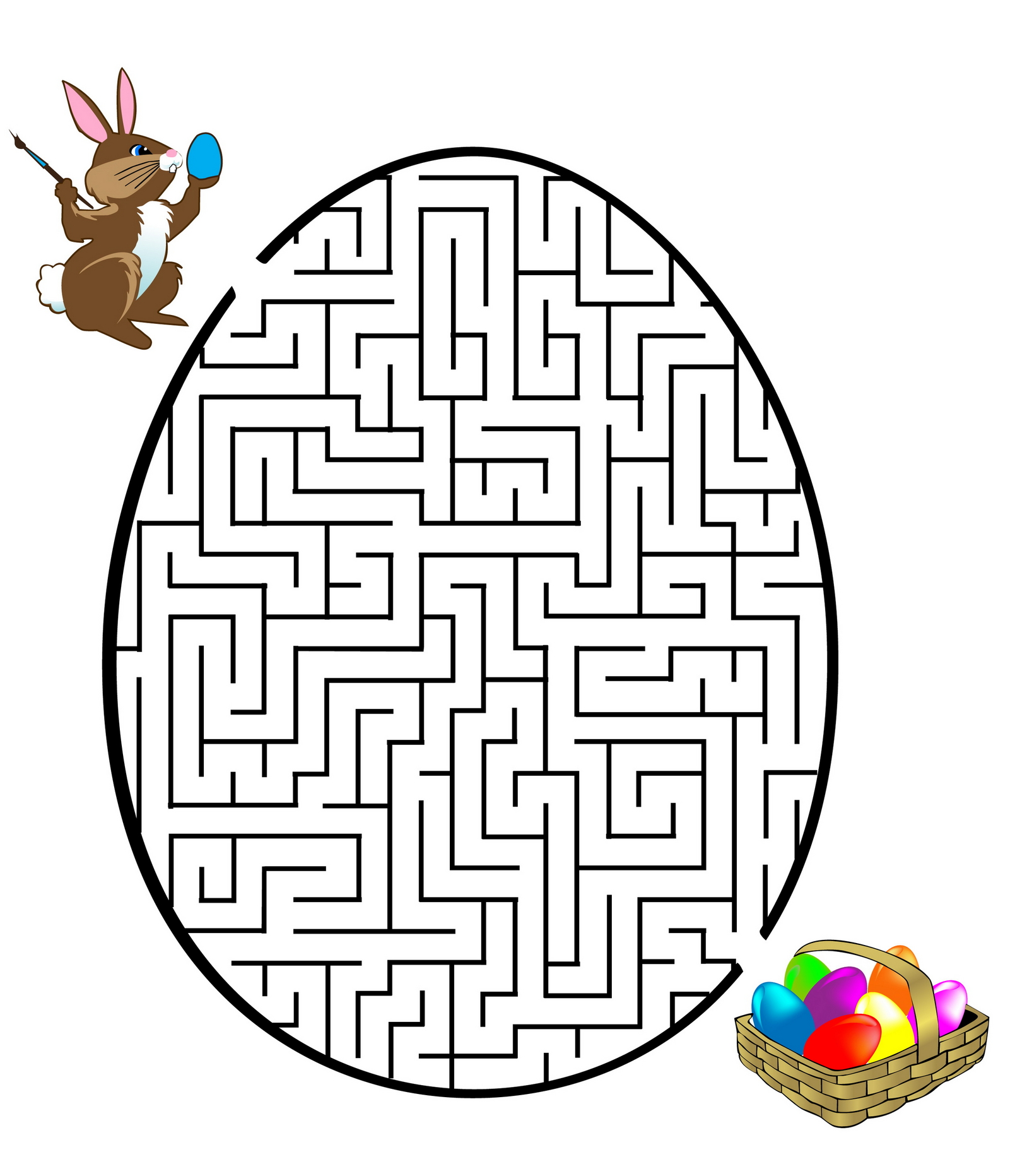 5 Images of Easter Mazes Printables