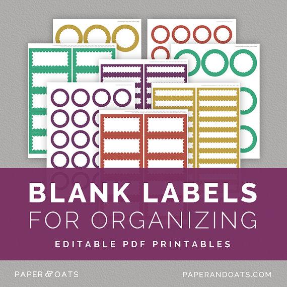 Editable Free Printable Organizing Labels