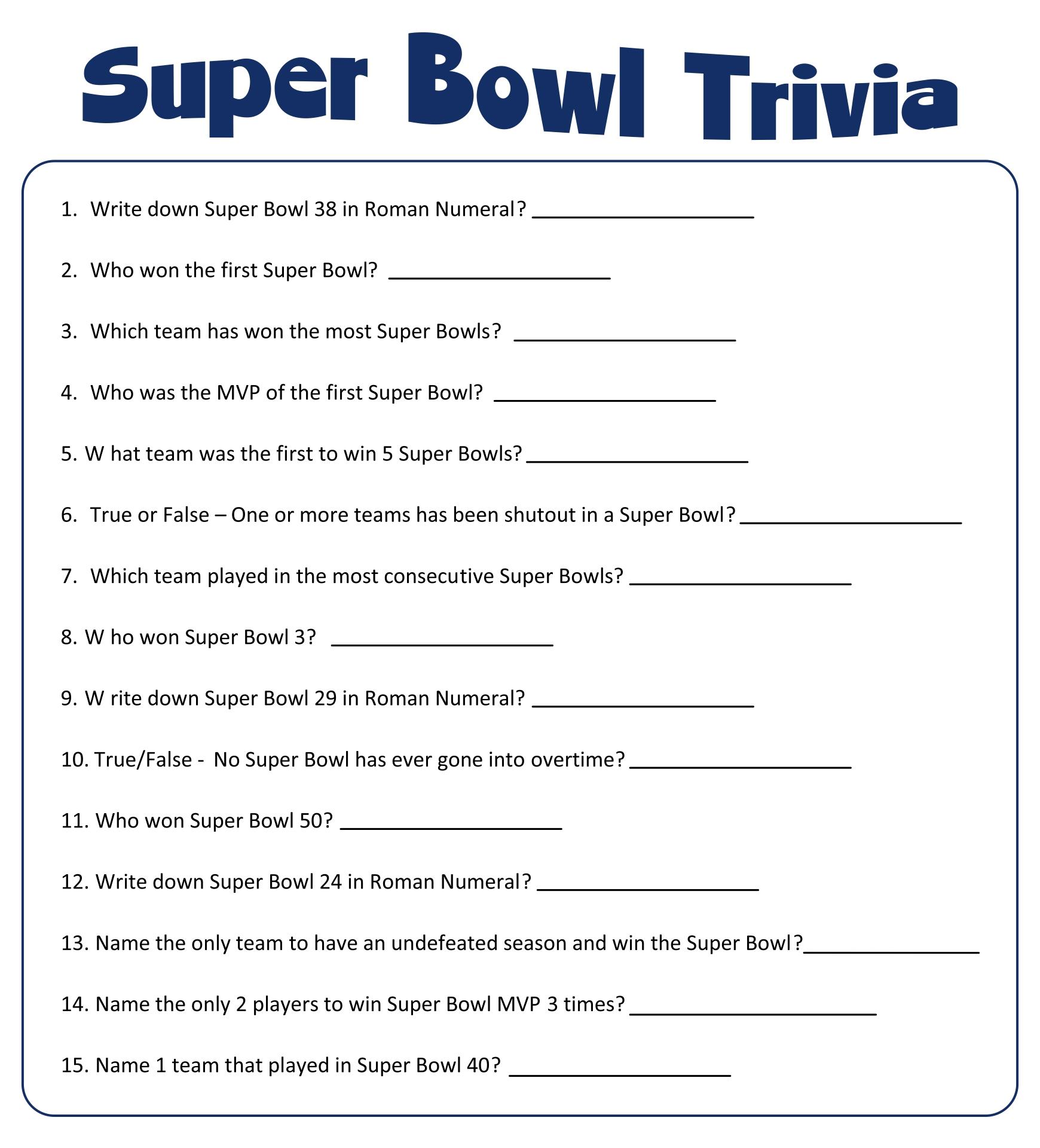 Football Trivia Printable Worksheets