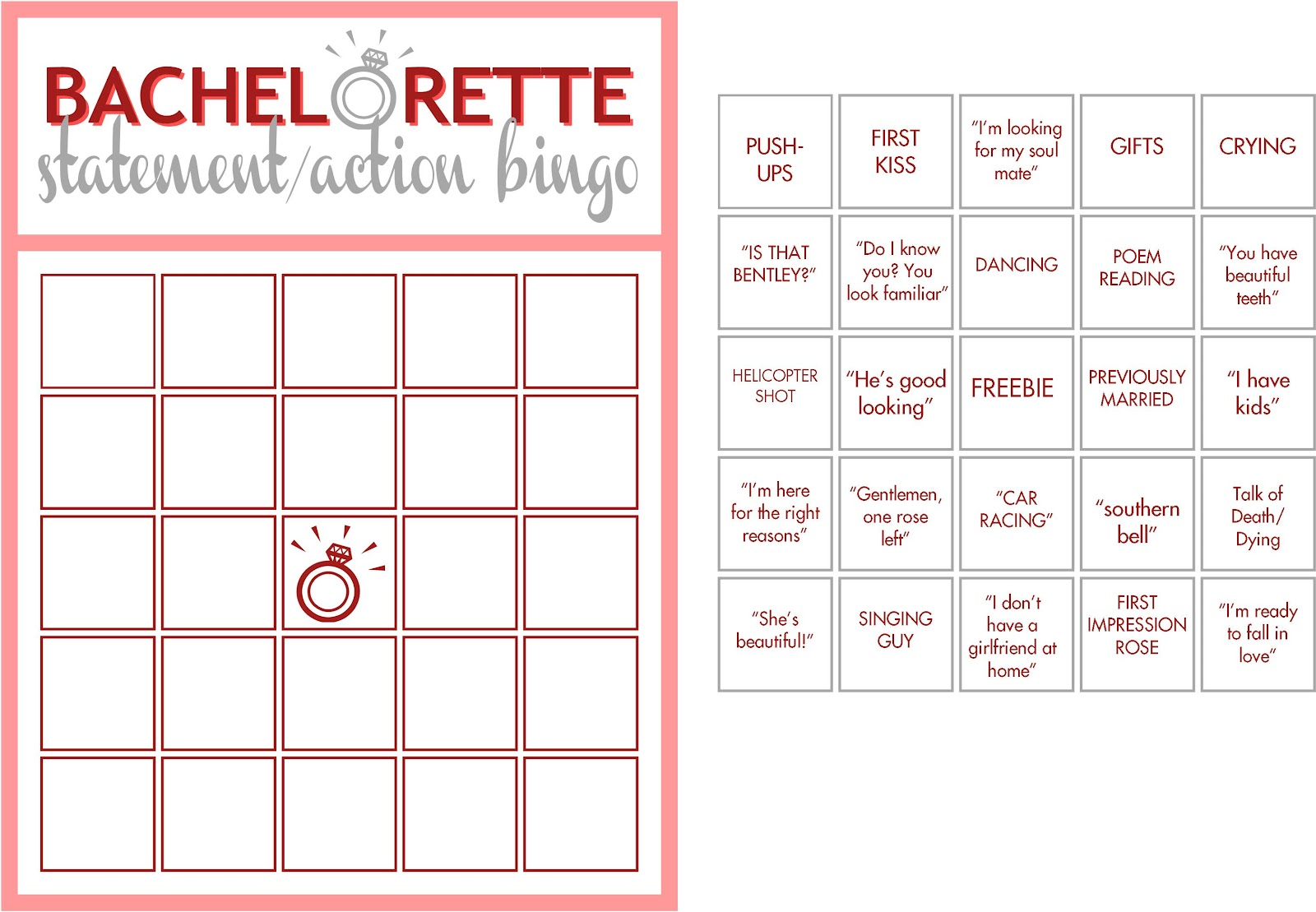 Free Printable Bachelorette Bingo