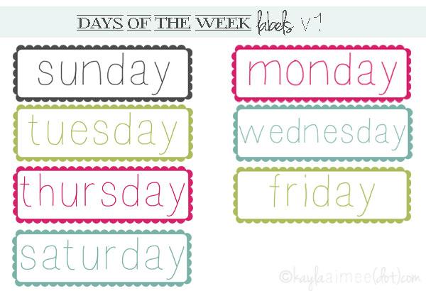 Number Names Worksheets u00bb Days Of Week Worksheet - Free Printable Worksheets for Pre School Children
