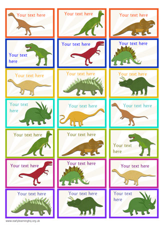 7 Images of Dinosaur Flash Labels Printable