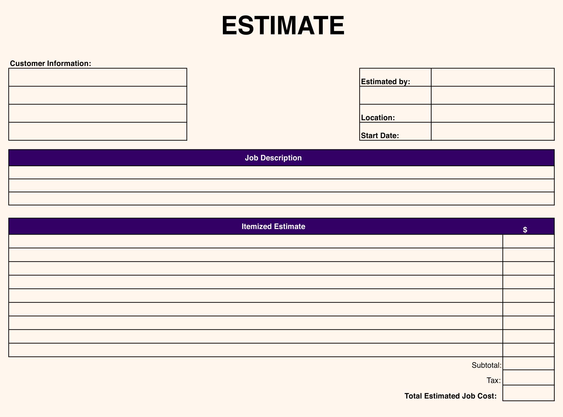 10 Best Free Printable Estimate Templates Blank Downloadable Printablee Com