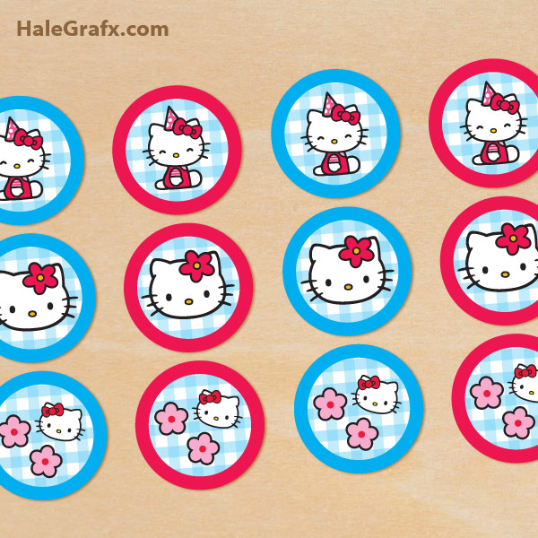 5 Images of Hello Kitty Printable Cupcake Toppers