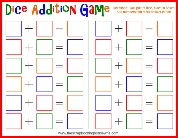5 Images of Addition Dice Game Printable
