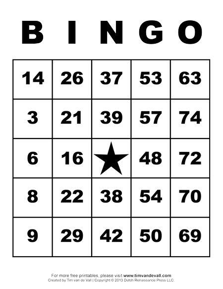 Free Printable Number Bingo Cards