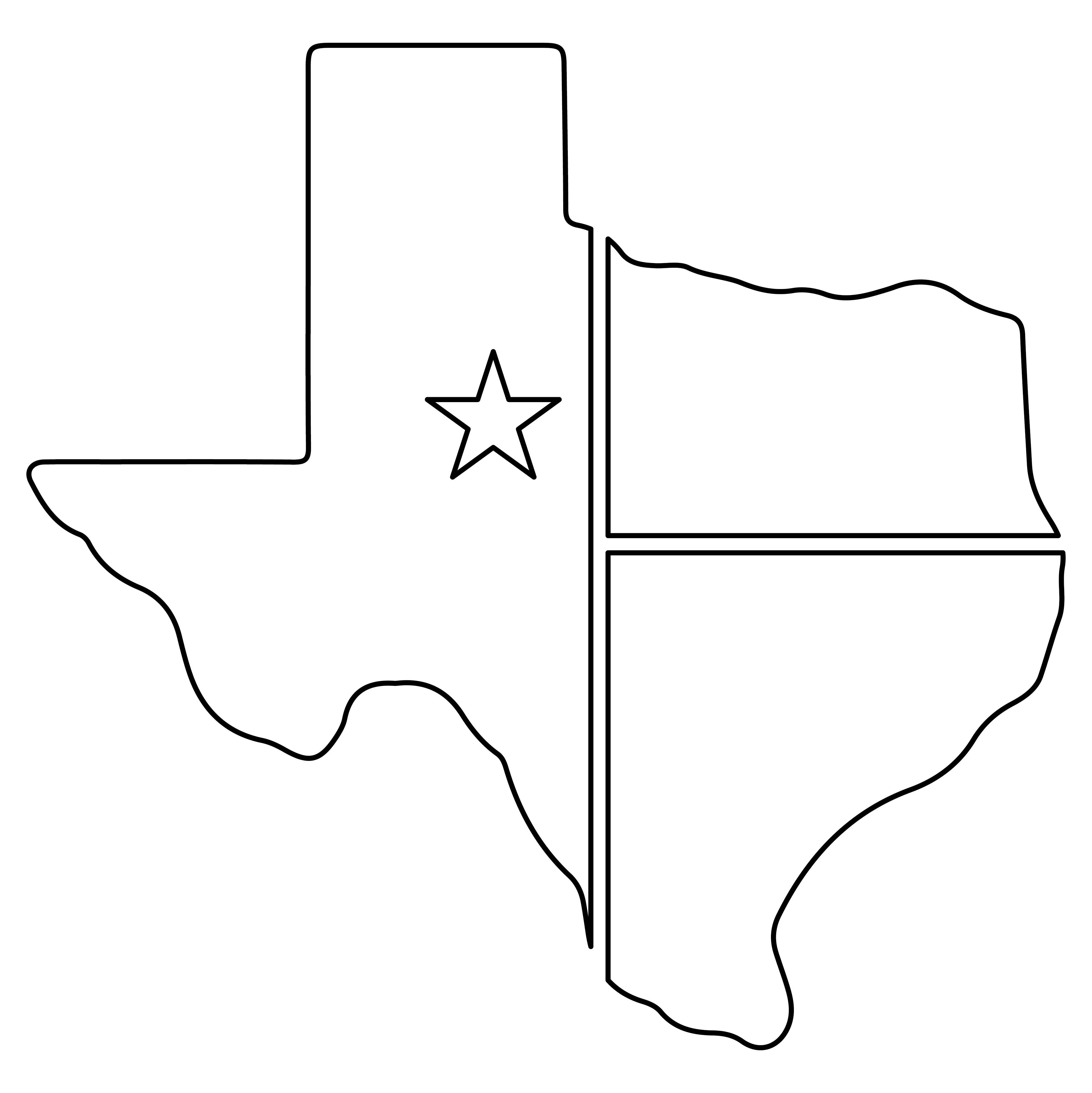 Printable Texas Map Outline