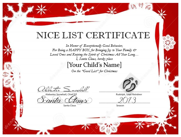7 best images of santa nice list certificate printable