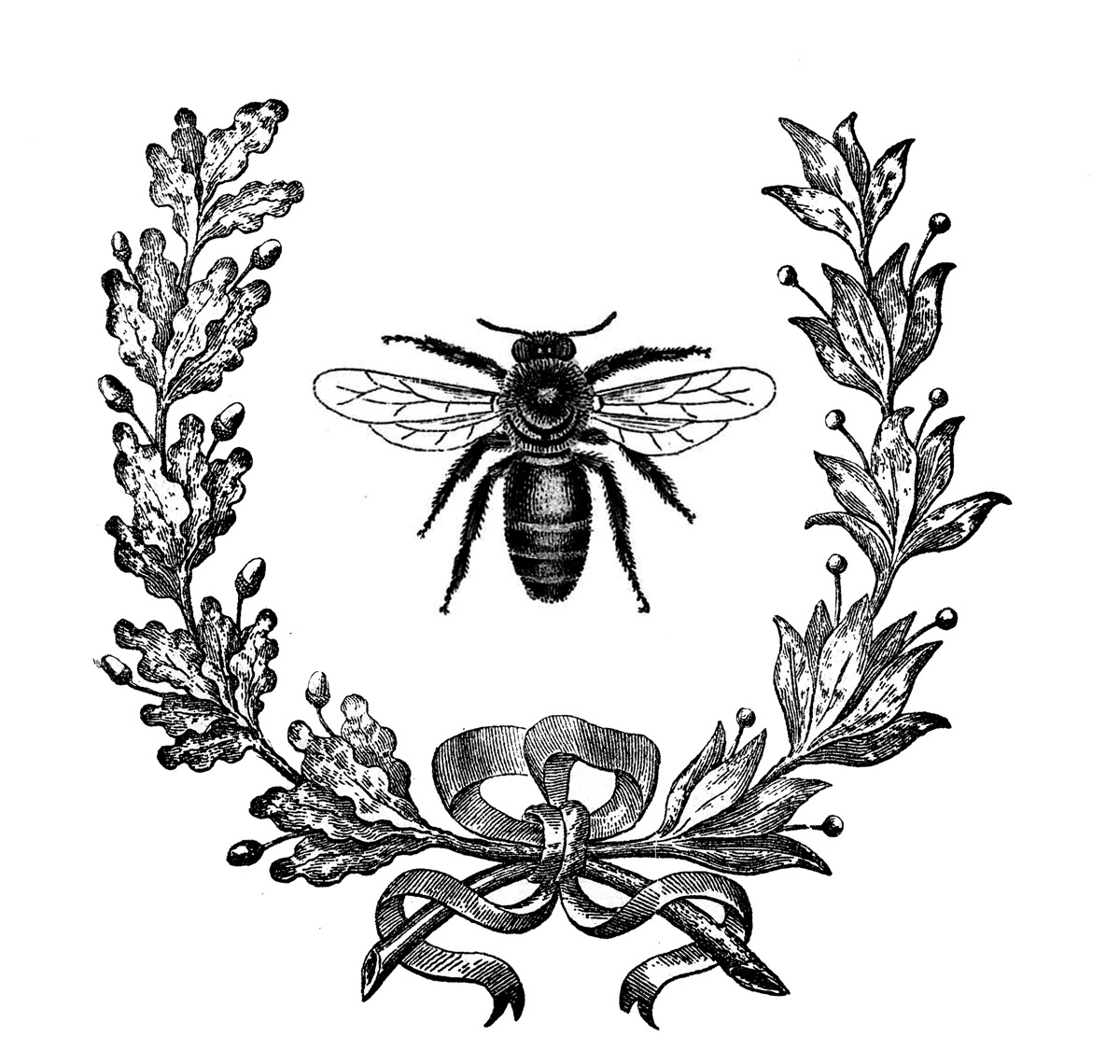 French Bee with Wreath