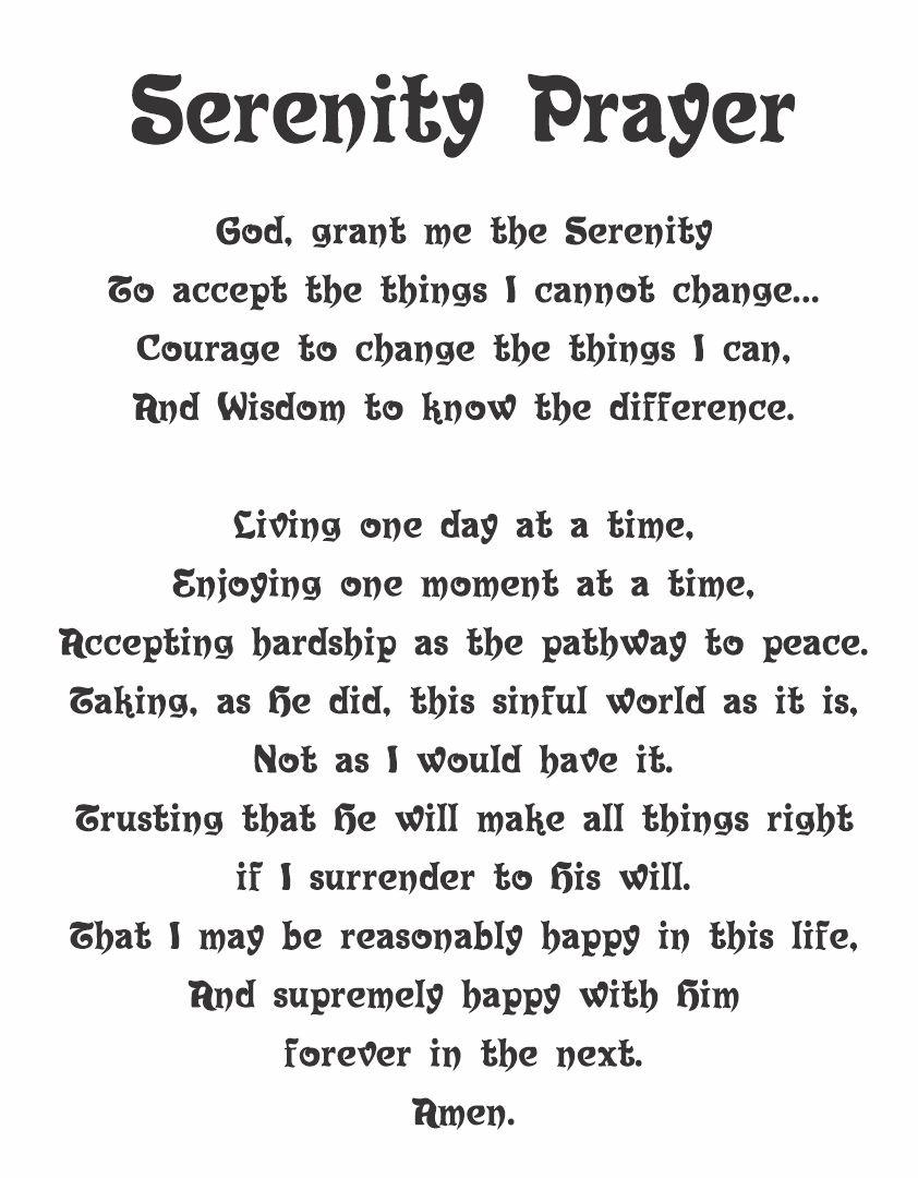 Full Serenity Prayer Printable Version
