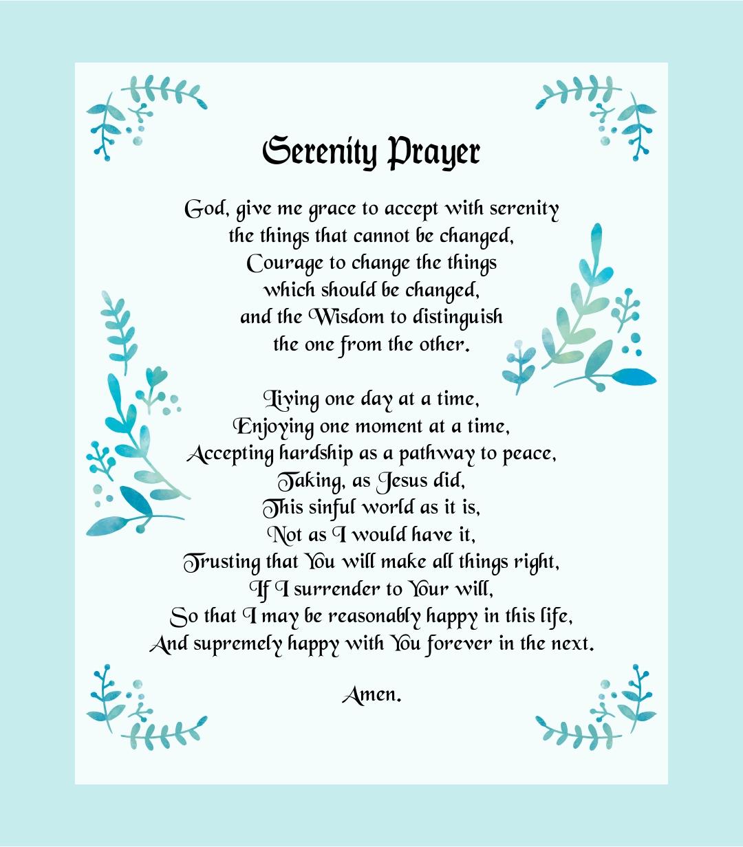 Full Serenity Prayer Printable