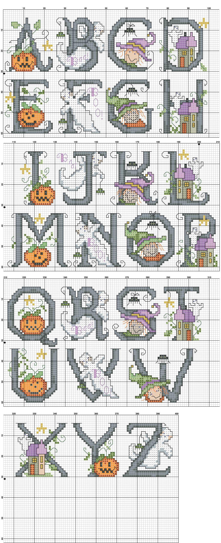 Halloween Cross Stitch Letters Pattern